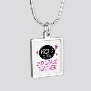 Proud 2nd Grade Teacher Silver Square Necklace