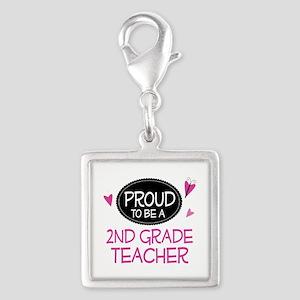 Proud 2nd Grade Teacher Silver Square Charm