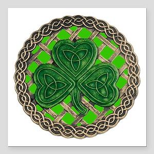 "Shamrock And Celtic Knots Square Car Magnet 3"" x 3"