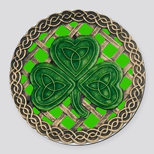 Shamrock And Celtic Knots Round Car Magnet