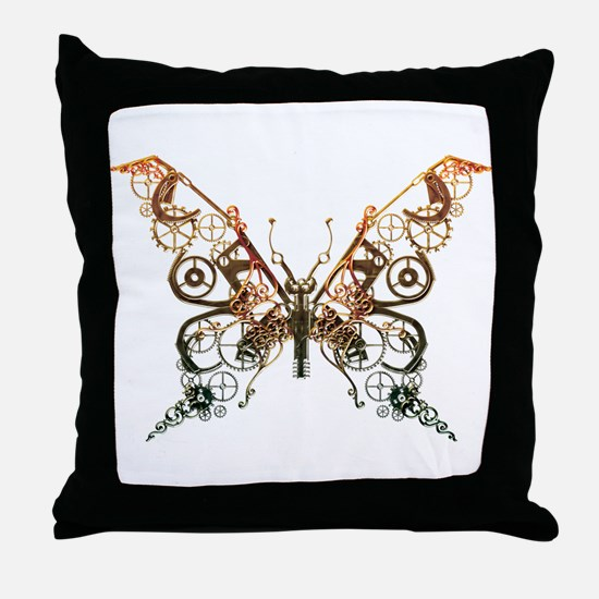 Industrial Butterfly (Copper) Throw Pillow
