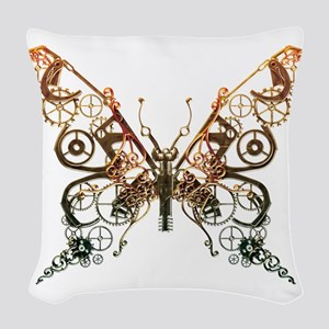 Industrial Butterfly (Copper) Woven Throw Pillow