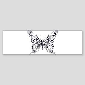 Silver Industrial Butterfly Bumper Sticker