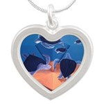 SEA TURTLE RACE Silver Heart Necklace
