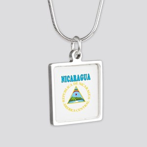 Nicaragua Coat Of Arms Designs Silver Square Neckl