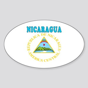 Nicaragua Coat Of Arms Designs Sticker (Oval)