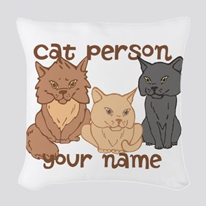 Personalized Cat Person Woven Throw Pillow