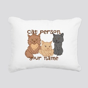 Personalized Cat Person Rectangular Canvas Pillow