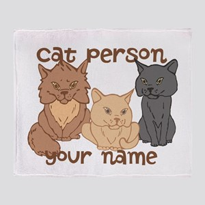 Personalized Cat Person Throw Blanket