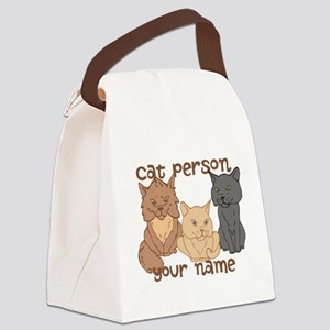 Personalized Cat Person Canvas Lunch Bag