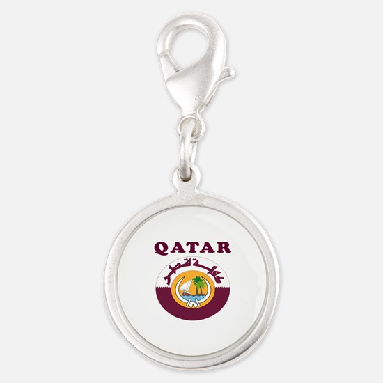 Qatar Coat Of Arms Designs Silver Round Charm