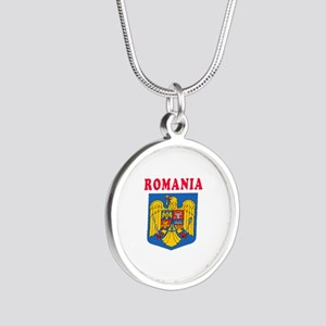 Romania Coat Of Arms Designs Silver Round Necklace