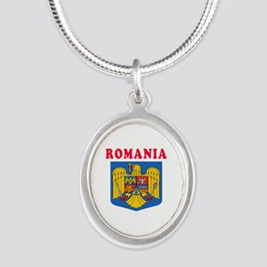 Romania Coat Of Arms Designs Silver Oval Necklace