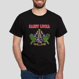 Saint Lucia Coat Of Arms Designs Dark T-Shirt