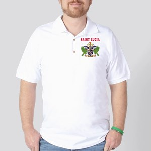 Saint Lucia Coat Of Arms Designs Golf Shirt