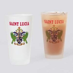 Saint Lucia Coat Of Arms Designs Drinking Glass