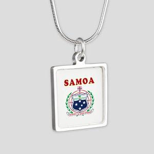 Samoa Coat Of Arms Designs Silver Square Necklace