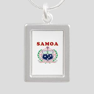 Samoa Coat Of Arms Designs Silver Portrait Necklac