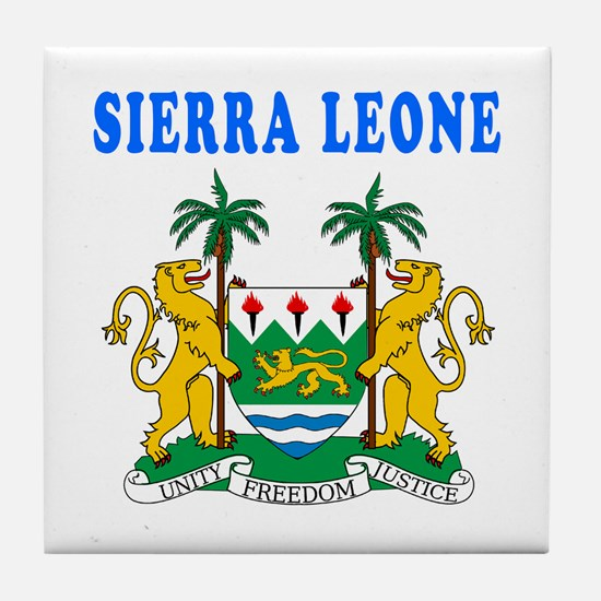 Sierra Leone Coat Of Arms Designs Tile Coaster