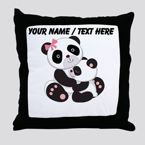 Custom Panda Baby And Mother Throw Pillow