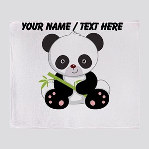 Custom Panda With Bamboo Throw Blanket