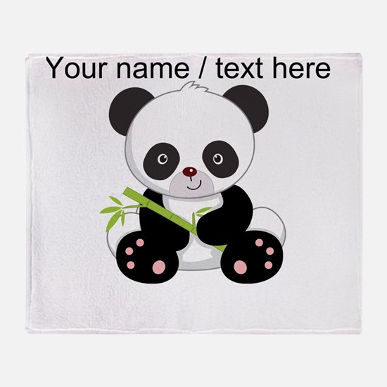 Custom Panda With Bamboo Throw Blanket
