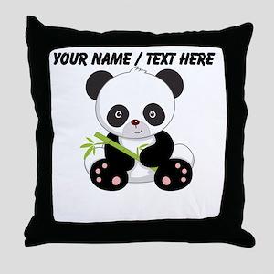 Custom Panda With Bamboo Throw Pillow
