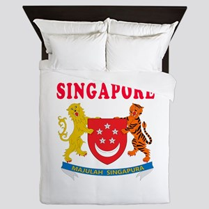 Singapore Coat Of Arms Designs Queen Duvet