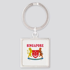 Singapore Coat Of Arms Designs Square Keychain