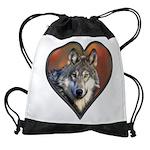 Wolf Heart Drawstring Bag