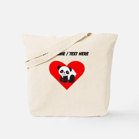 Custom Cute Panda Heart Tote Bag