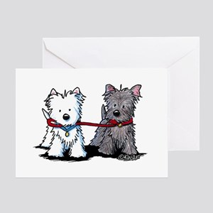 Terrier Walking Buddies Greeting Card