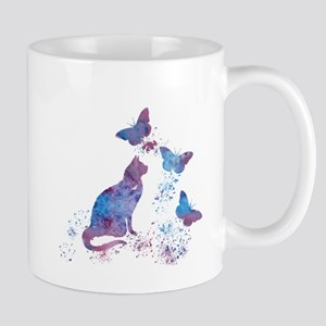 Cat and butterflies Mugs