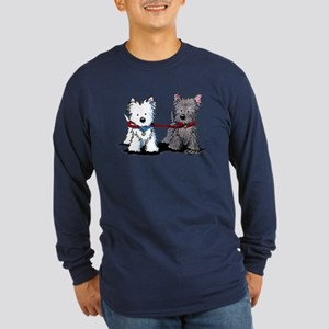 Terrier Walking Buddies Long Sleeve Dark T-Shirt