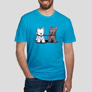 Terrier Walking Buddies Men's Fitted T-Shirt (dark