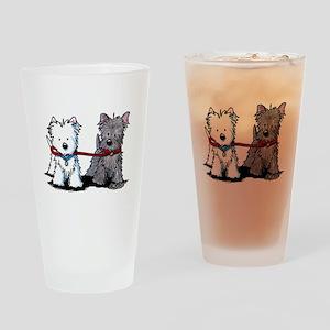 Terrier Walking Buddies Drinking Glass