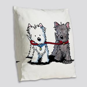Terrier Walking Buddies Burlap Throw Pillow