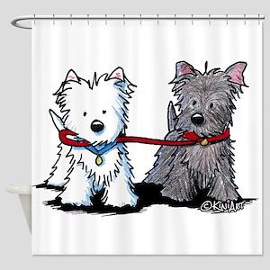 Terrier Walking Buddies Shower Curtain