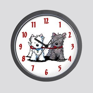 Terrier Walking Buddies Wall Clock