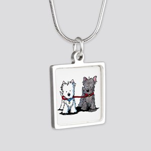 Terrier Walking Buddies Silver Square Necklace