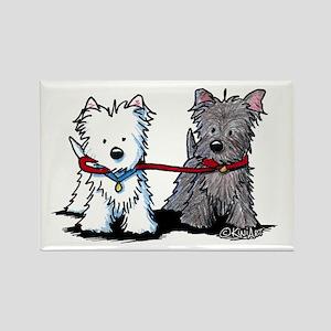 Terrier Walking Buddies Rectangle Magnet