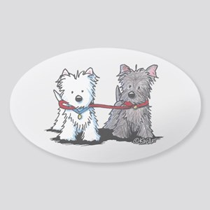 Terrier Walking Buddies Sticker (Oval)