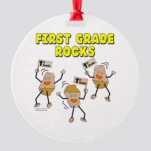 First Grade Rocks Round Ornament