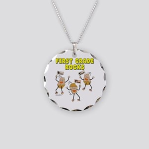 First Grade Rocks Necklace Circle Charm
