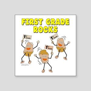 "First Grade Rocks Square Sticker 3"" x 3"""