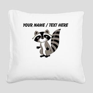 Custom Cartton Raccoon Square Canvas Pillow