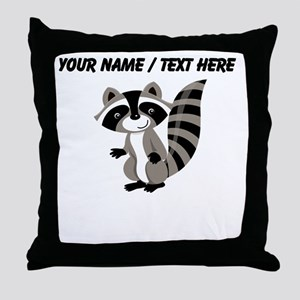 Custom Cartton Raccoon Throw Pillow