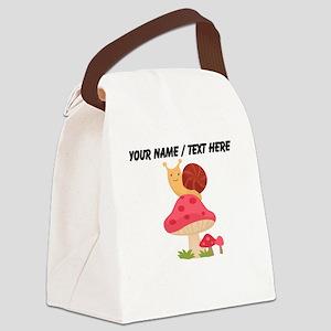 Custom Cartoon Snail On Mushroom Canvas Lunch Bag