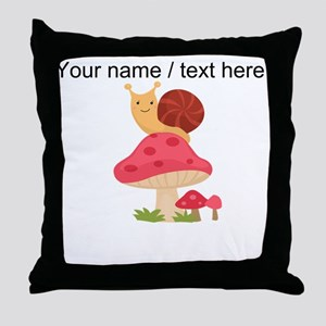 Custom Cartoon Snail On Mushroom Throw Pillow