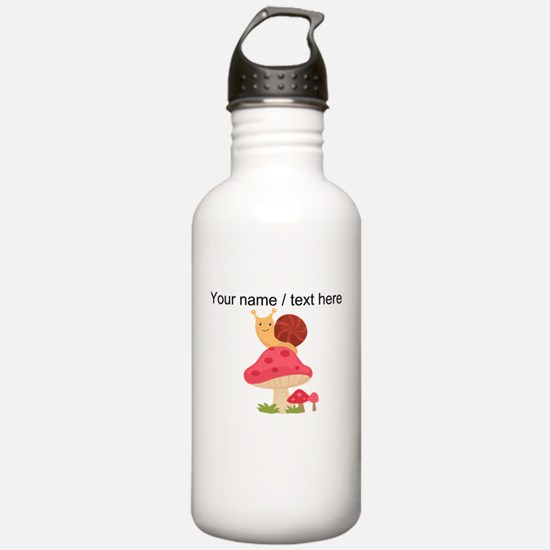 Custom Cartoon Snail On Mushroom Water Bottle